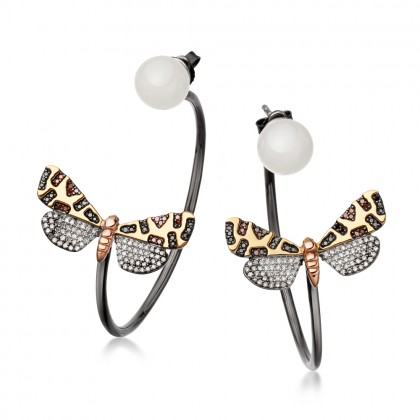 Astley Clarke Crimson Speckled Moth Hoop Earrings