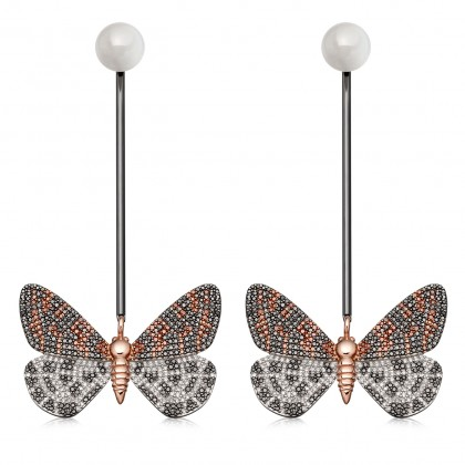 Astley Clarke Speckled Magpie Moth Bar Drop Earrings