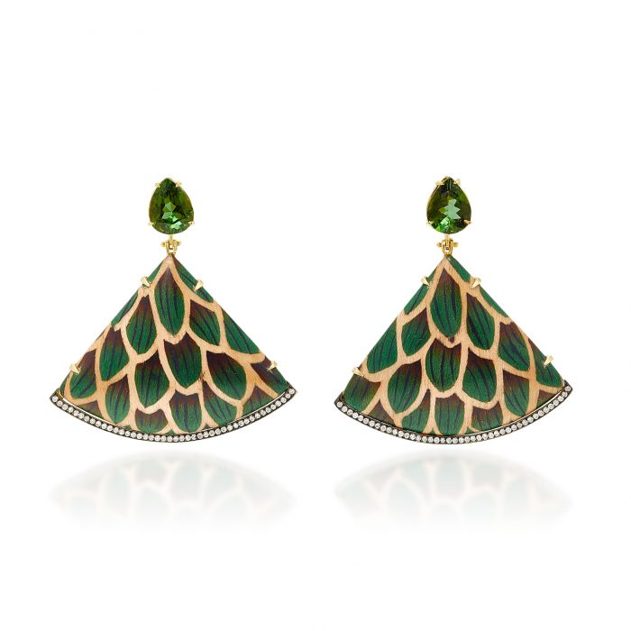 Silvia Furmanovich Green Marquetry Earrings
