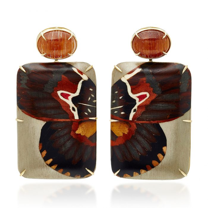 Silvia Furmanovich Marquetry Butterfly Earrings