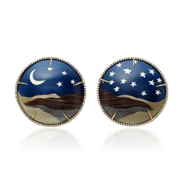 Silvia Furmanovich Marquetry Moon & Star Earrings