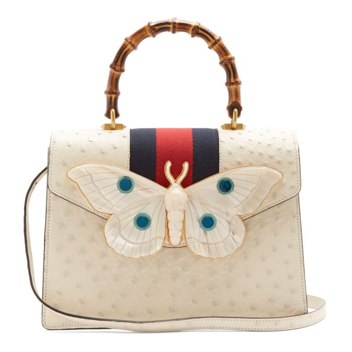 Gucci Moth-Embellished Ostrich-Leather Bag