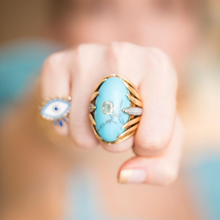 GET THE LOOK: TIMELESS TURQUOISE WITH EVIL EYE RINGS