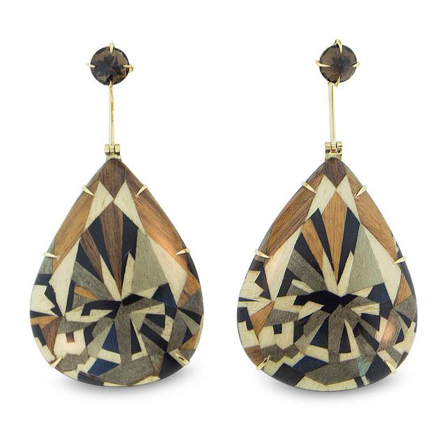 Silvia Furmanovich Marquetry Wood Earrings