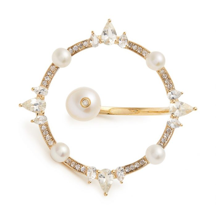 Anissa Kermiche Diamond, Pearl & Yellow-Gold Ring