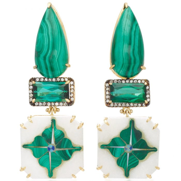 Silvia Furmanovich India Marble Mosaic Malachite Earrings