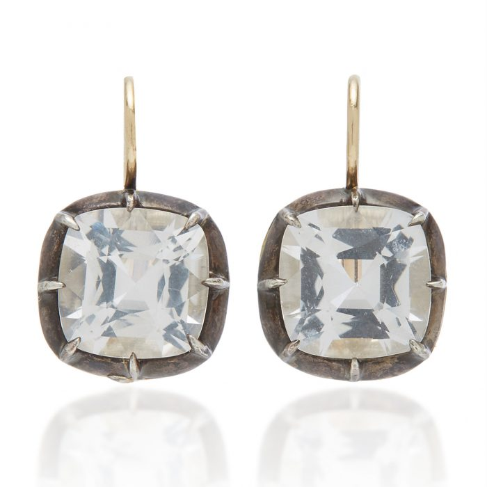 Click Product to Zoom Fred Leighton Cushion Cut White Topaz Collet Drop Earrings