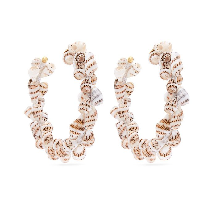 Rebecca De Ravenel Olympia Shell And Gold-Plated HoopS