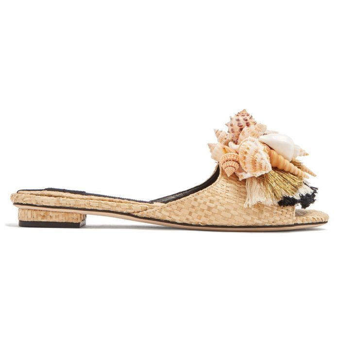 Sanayi 313 Iris Shell And Tassel-Embellished Slides